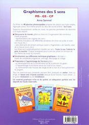 Graphismes des cinq sens ; MS/GS/CP - 4ème de couverture - Format classique
