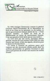 Le General Henri Gouraud Au Liban Et En Syrie, 1919-1923 - 4ème de couverture - Format classique