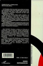 Complexite En Formation - 4ème de couverture - Format classique