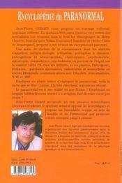 Encyclopedie Du Paranormal - 4ème de couverture - Format classique