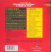 L'Essentiel De L'Introduction Historique A L'Etude Du Droit - 4ème de couverture - Format classique