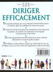 Diriger Efficacement - 4ème de couverture - Format classique