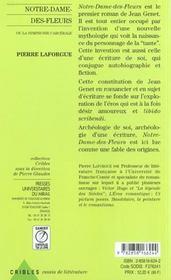 Notre Dame Des Fleurs Ou La Symphonie Carcerale - 4ème de couverture - Format classique