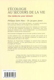 L'Ecologie Au Secours De La Vie ; Une Medecine Pour Demain - 4ème de couverture - Format classique