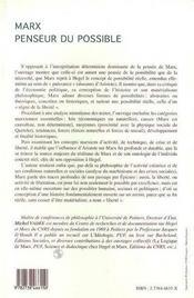 Marx Penseur Du Possible - 4ème de couverture - Format classique