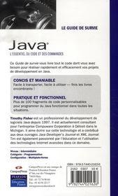Java ; l'essentiel du code et des commandes - 4ème de couverture - Format classique