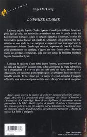 L'Affaire Clarke - 4ème de couverture - Format classique