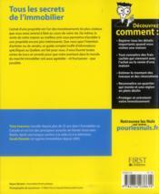 L'immobilier pour les nuls ; édition spéciale Québec ! - 4ème de couverture - Format classique
