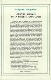 Quatre Saisons De La Societe Marchande - 4ème de couverture - Format classique