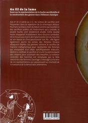 Au fil de la lame ; essai sur la représentation de la hache sacrificielle et la construction des genres dans l'Athènes classique - 4ème de couverture - Format classique