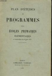 Plan D'Etudes Et Programmes Des Ecoles Primaires Elementaires Et Instructions Du 20 Juin 1923 - Couverture - Format classique