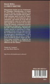 La pièce obscure - 4ème de couverture - Format classique