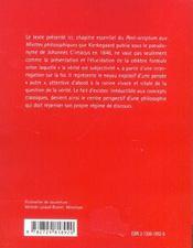 Post-Scriptum Aux Miettes Philosophiques Kierkegaard - 4ème de couverture - Format classique