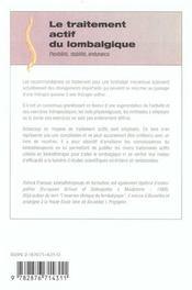 Le Traitement Actif Du Lombalgique - 4ème de couverture - Format classique