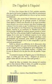 De L'Egalite A L'Equite - 4ème de couverture - Format classique