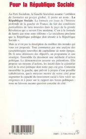 Pour La Republique Sociale ; La Gauche Socialiste Dans Ses Textes - 4ème de couverture - Format classique