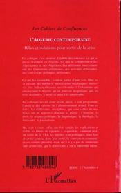 L'Algerie Contemporaine ; Bilan Et Solutions Pour Sortir De La Crise - 4ème de couverture - Format classique