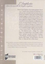 Implicite Dans La Nouvelle De Langue Anglaise - 4ème de couverture - Format classique