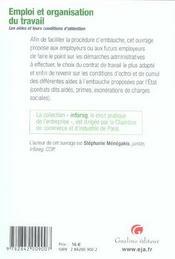 Emploi Et Organisation Du Travail - 4ème de couverture - Format classique