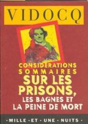 Considerations Sommaires Sur Les Prisons, Les Bagnes Et La Peine De Mort - Couverture - Format classique
