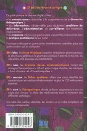 Guide pharmaco etudiants et professionnels paramedicaux 3eme edition version infirmieres - 4ème de couverture - Format classique