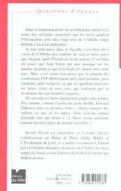 L Affiche Rouge 21 Fevrier 1944 - 4ème de couverture - Format classique