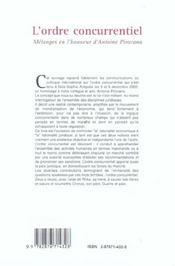 L'ordre concurrentiel ; melanges en l'honneur d'antoine pirovano - 4ème de couverture - Format classique