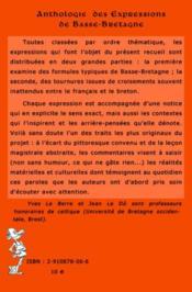 Anthologie des expressions de Basse-Bretagne (édition 2006) - 4ème de couverture - Format classique
