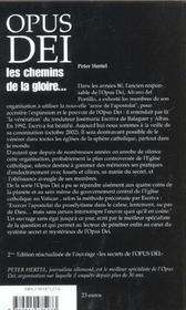 Opus Dei ; Les Chemins De La Gloire - 4ème de couverture - Format classique