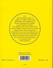 Vies de cartouche et mandrin d'après les livres de colportage - 4ème de couverture - Format classique