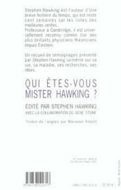 Qui êtes-vous mister Hawking ? - 4ème de couverture - Format classique