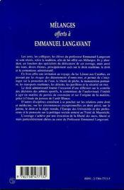 Mélanges offerts à Emmanuel Langavant - 4ème de couverture - Format classique