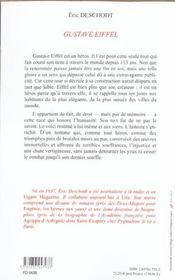 Gustave Eiffel - 4ème de couverture - Format classique