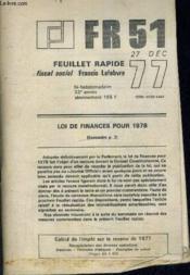 Fr 51 - Feuillet Rapide Fiscal Social - 27 Decembre 32 E Annee - 1977. - Couverture - Format classique