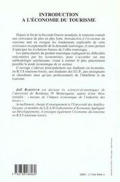 Introduction A L'Economie Du Tourisme - 4ème de couverture - Format classique
