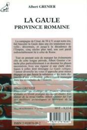 La Gaule, province romaine - 4ème de couverture - Format classique