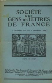 Societe Des Gens De Lettres De France (4 Octobre 1944 Au 31 Decembre 1945). - Couverture - Format classique