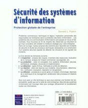 Securite Des Systeme D'Information - 4ème de couverture - Format classique