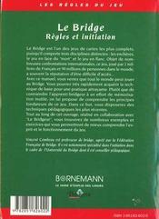 Bridge Regles Et Initiation - 4ème de couverture - Format classique