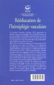 Reeducation De L'Hemiplegie Vasculaire - 4ème de couverture - Format classique
