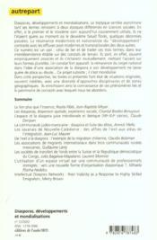 Diasporas ; developpements et mondialisations - 4ème de couverture - Format classique