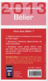 Bélier 2013 - 4ème de couverture - Format classique