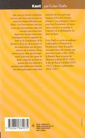 Kant - 4ème de couverture - Format classique