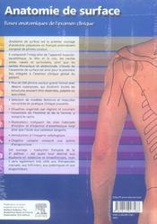 Anatomie De Surface. Bases Anatomiques De L'Examen Clinique - 4ème de couverture - Format classique