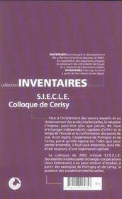 Un Siecle De Rencontres Intellectuelles A Pontigny Et Cerisy - 4ème de couverture - Format classique