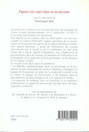 Figures Du Sujet Dans La Modernite - 4ème de couverture - Format classique