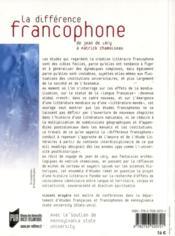 La différence francophone - 4ème de couverture - Format classique