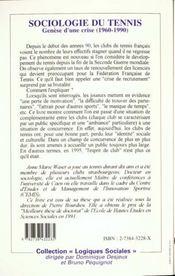 Sociologie Du Tennis - 4ème de couverture - Format classique