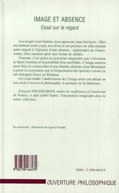 Image Et Absence ; Essai Sur Le Regard - 4ème de couverture - Format classique