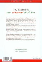 100 Exercices Pour Progresser Aux Echecs - 4ème de couverture - Format classique
